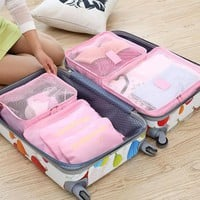 QZH 6PCS/Set Women Men Travel Bag Cosmetic Organizer Ladies Toiletry Makeup Case Bag Washing Bags Multi-functional Storage Bag