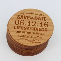 Save the Date Magnets - Best Custom Engraved Wood Magnets - Coasters - Simple & Classy - Wedding Reminder - Wedding Gift Ideas by Froolu