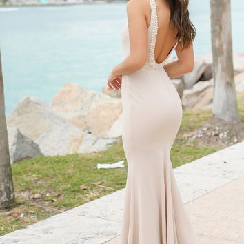 Nude Maxi Dress with Open Back and Pearl Detail