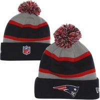New Era New England Patriots Youth On-Field Cuff Knit Hat - Navy Blue/Gray