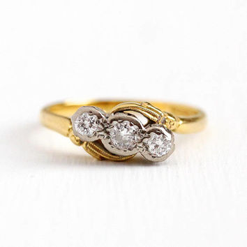 Vintage Diamond Ring - 18k Yellow & White Gold Three Stone Anniversary Band - Size 7 Fine Engagement Bridal Triple Gemstone English Jewelry