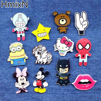 New arrive Animal Lovely Cartoon Brooches Pins Cute Minion Bear broche small mini Hello kitty acrylic enamel lapel batman