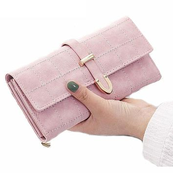Women Wallet Female Coin Purse Fashion Long Clutch Hasp Closure Lady Purse Drawstring Nubuck PU Leather Purse Credit Card Holder