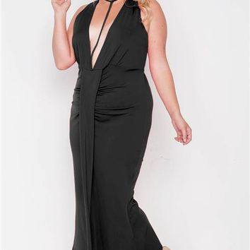 PLUS || Plunging Neck Maxi Dress