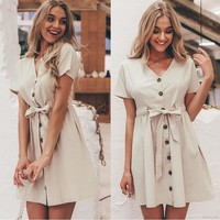 Women V-Neck Summer Button Casual Short Sleeve Dress