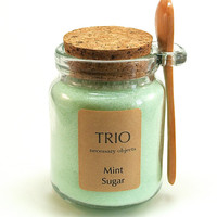 Mint Sugar- 8 oz Glass Sugar Jar with Mini Wooden Spoon for Tea Parties, Coffee, Tea, Berries, Cider, Lemonade, Baking