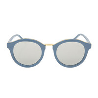 Gold Tone Accent Mirrored Sunglasses (Blue) | STYLENANDA