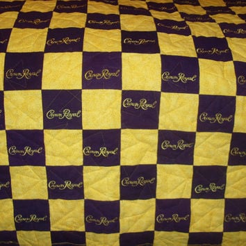 Custom Made to Order Twin Size Crown Royal Quilt, Couch Throw, Man Cave Blanket