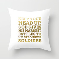 Keep your head up - GOLD INK Throw Pillow by Cooledition
