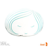 Limited Edition Girl Face Plush Pillow in Mint Green Print