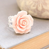 Pink Rose Ring Large Rose Ring Adjustable White Painted Patina Lace Filigree Shabby Chic Jewelry Cocktail Ring Fench Country Romantic