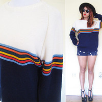 Vintage unisex 80's medium thick pullover sweater stripe color blocks preppy