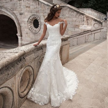 Vintage Mermaid Wedding Dress Full Length Scoop Neck  Bridal Gown Sexy Cap Sleeve 2016 Bridal Wedding Gown Sweep Train