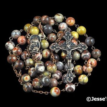 Catholic Rosary Beads Rustic Birdseye Rhyolite Natural Stone Copper Traditional Rosary Five Decade Catholic Gift