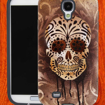 Sugar skull painting art,Accessories,Case,Cell Phone,iPhone 4/4S,iPhone 5/5S/5C,Samsung Galaxy S3,Samsung Galaxy S4,Rubber,28-11-12-Vr