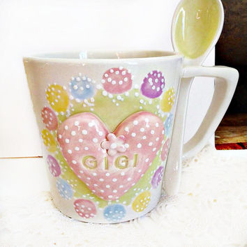 Pretty Personalized Tea Cup For Gigi - Personalized Gigi Cup - Grandma Teacup - Coffee Mug Gift For Gigi -  Shabby Chic Tea Cup -  Gigi Gift