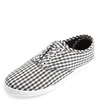Gingham Check Laceless Canvas Sneakers by Charlotte Russe - Black