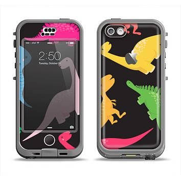 The Vector Neon Dinosaur Apple iPhone 5c LifeProof Nuud Case Skin Set