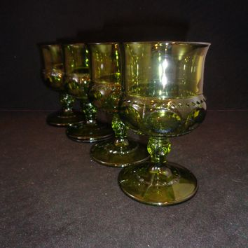 Small Green King's Crown Goblets  S/4