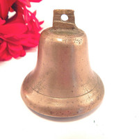 Brass Bell Antique 1910's Metal Dinner Bell Collectible Country Farmhouse Home Decor Cow Farm Animal Goat Barn Bell