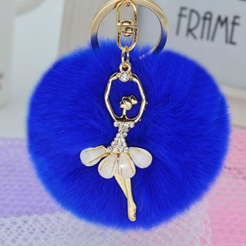 Chic Royal Blue Faux Rabbit Fur Pom Pom with Crystal Balerina Charm Key Fob Keychain Gold Tone