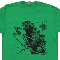 Godzilla Surf Shirt Retro Surfing T Shirt Cool Vintage Surfing Shirt
