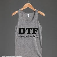 DTF (Devoted to Food)-Unisex Athletic Grey Tank