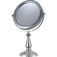 "E-ware Elegant 9k007a1 Double-sided 1x/10x Makeup Table Top Mirror, 7"", Mental with Satin Nickel Finish, Time Setting Clock with LCD Display for Masks, Travel Bag Included"