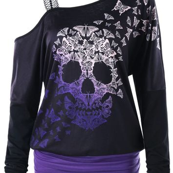 Gamiss Women Casual T Shirt Tops Female Fashion Skull Butterfly Print Skew Collar Long Sleeves T-Shirts Women Top