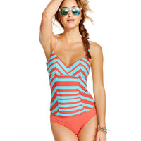 Coco Rave Striped Underwire Bra-Sized Tankini Top & Solid Hipster Bottom