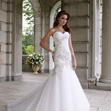 Elegant Sweetheart Applique Beaded Mermaid Wedding Dresses 2015 Vestido Noiva Tulle Bridal Gowns Custom Made