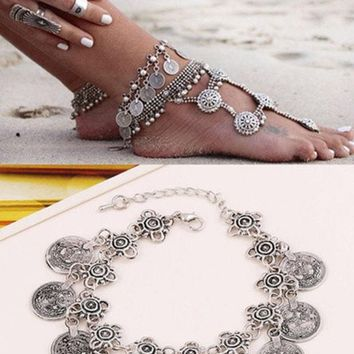 DCCKIX3 Antique Silver Bohemian Bracelet Barefoot Sandal Turkish Coin Anklet Fashion Jewelry