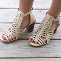 Birmingham Bay Caged Natural Heel Sandals