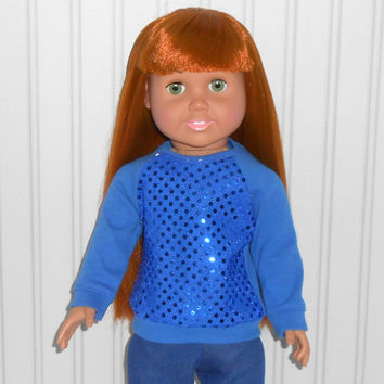 18 inch Girl Doll Clothes Royal Blue Sequin Sweatshirt Long Sleeve Knit Shirt American Doll Clothes