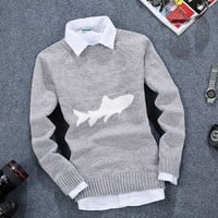 Mens Fish Embroidered Sweater