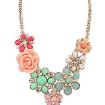 Match-Right 2015 Women Statement Necklace Link Chain Necklaces Fashion Collar  Choker Necklace Flower Pendant Jewelry Trends
