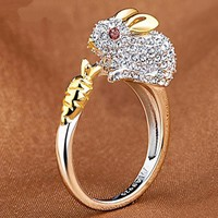 Unique Cute  Fashion Chinese Zodiac Retro Rings  Animals Index Finger Opeing Rings For Women Girls Gift Rhinestone Rings 1pc