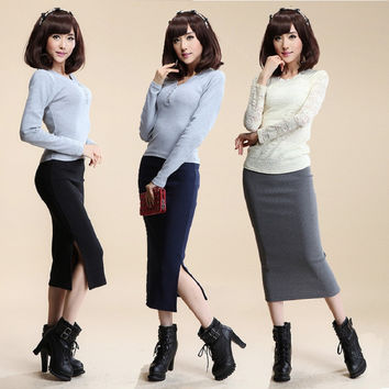 Autumn Winter Women Skirt Wool Rib Knit Long Skirt Faldas Package Hip Split Skirts