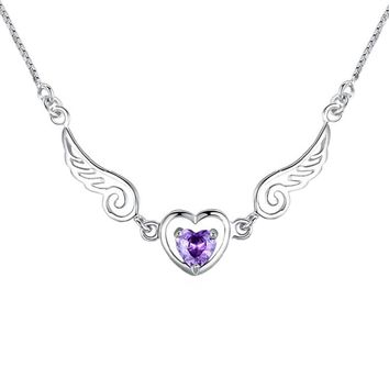 Goods 2017 Angel Wing Necklace Pendant Novelty  Crystal Love Heart Chain Necklace