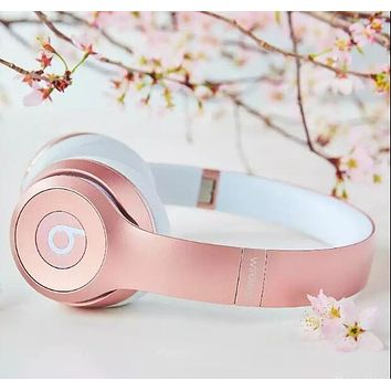 Stylish Trending Snug Beats Solo 3 Wireless Magic Sound Bluetooth Wireless Hands Headset MP3 Music Headphone with Microphone Line-in Socket TF Card Slot Rose Gold I