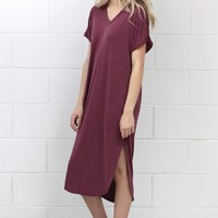 Short Sleeve Modal Side Slits Midi Dress {Burgundy} EXTENDED SIZES