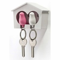 Love Birds Key Rings in Bird House
