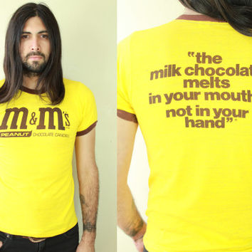 Vintage - 70s/80s - Yellow - Brown - Peanut M&Ms - Novelty - Melts in Your Mouth Not in Your Hands - Fitted - Ringer T Shirt