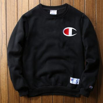 Champion embroidery sweetshirt outfit thickening Black