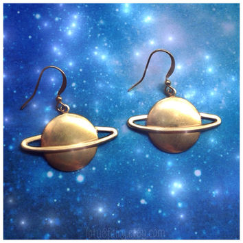 Saturn brass planet earrings