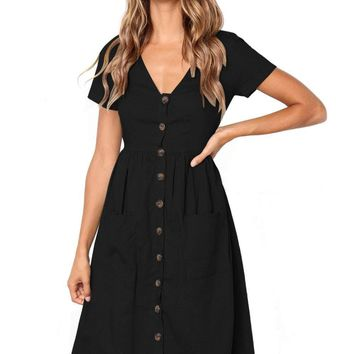 Black Stylish Button Front Midi Dress with Pockets