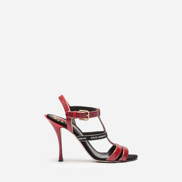 Women's Sandals New Collection | Dolce&Gabbana - SANDAL IN AYERS SNAKESKIN AND SUEDE