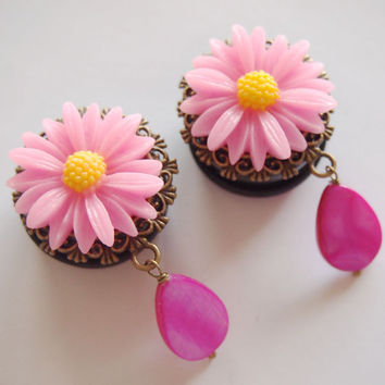 1 inch 25mm Daisy Maisy Neon Pink Acrylic Dangly Plugs for Stretched Ears Prom Formal Wedding