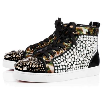 Best Online Sale Christian Louboutin Cl Rocky Flat Version Multi Paillettes Shoes 3170990cma3