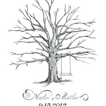 Hand Drawn X-Small Thumbprint Tree, Alternative Guest Book - Personalized Fingerprint Wedding Birthday Shower Anniversary Reunion - SMALL -